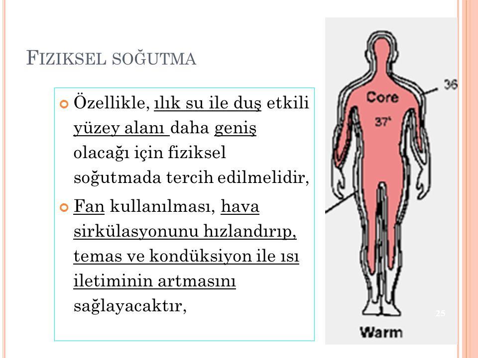 Fiziksel soğutma Özellikle, ılık su ile duş etkili yüzey alanı daha geniş olacağı için fiziksel soğutmada tercih edilmelidir,