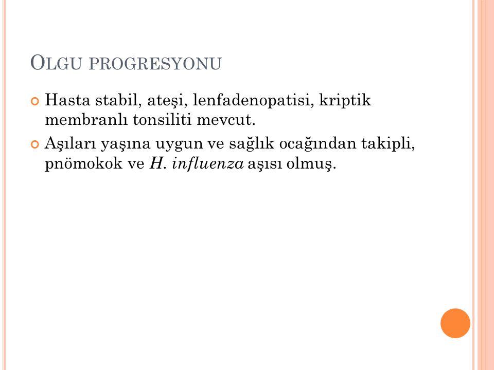 Olgu progresyonu Hasta stabil, ateşi, lenfadenopatisi, kriptik membranlı tonsiliti mevcut.