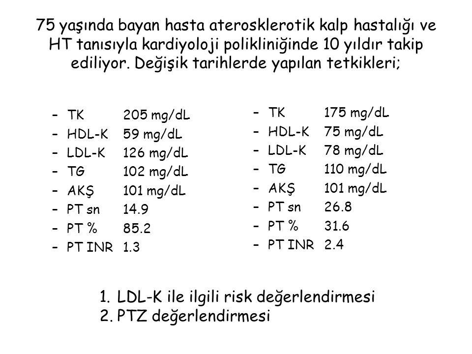 LDL-K ile ilgili risk değerlendirmesi PTZ değerlendirmesi