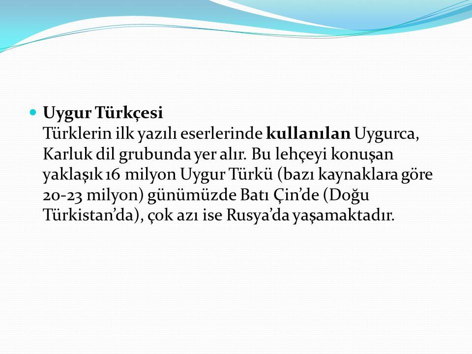 Uygur Türkçesi Türklerin ilk yazılı eserlerinde kullanılan Uygurca, Karluk dil grubunda yer alır.