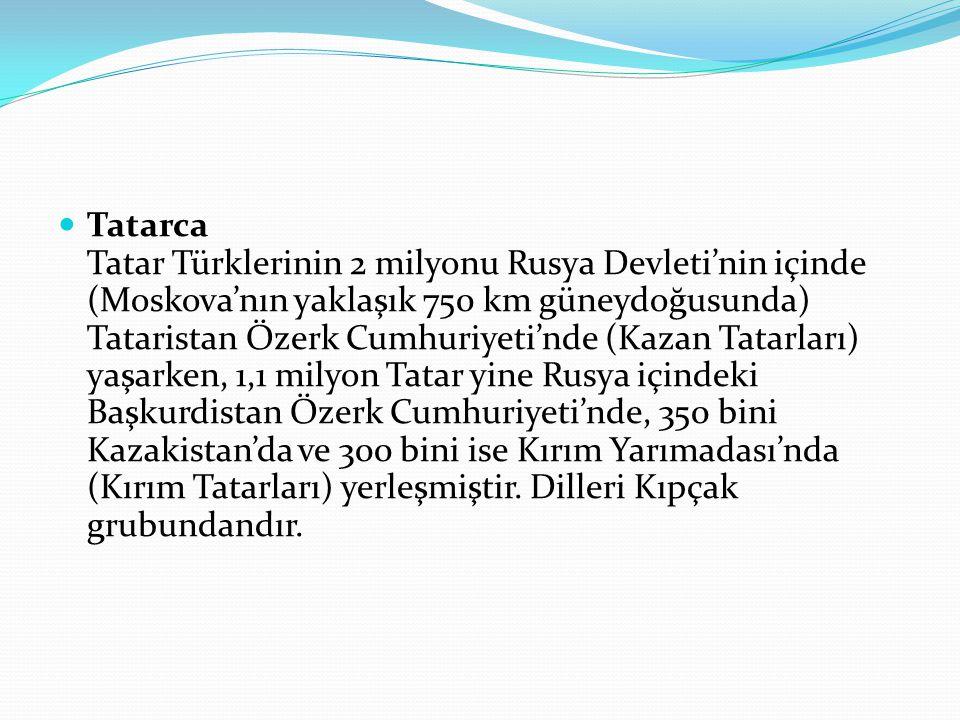 Tatarca Tatar Türklerinin 2 milyonu Rusya Devleti'nin içinde (Moskova'nın yaklaşık 750 km güneydoğusunda) Tataristan Özerk Cumhuriyeti'nde (Kazan Tatarları) yaşarken, 1,1 milyon Tatar yine Rusya içindeki Başkurdistan Özerk Cumhuriyeti'nde, 350 bini Kazakistan'da ve 300 bini ise Kırım Yarımadası'nda (Kırım Tatarları) yerleşmiştir.