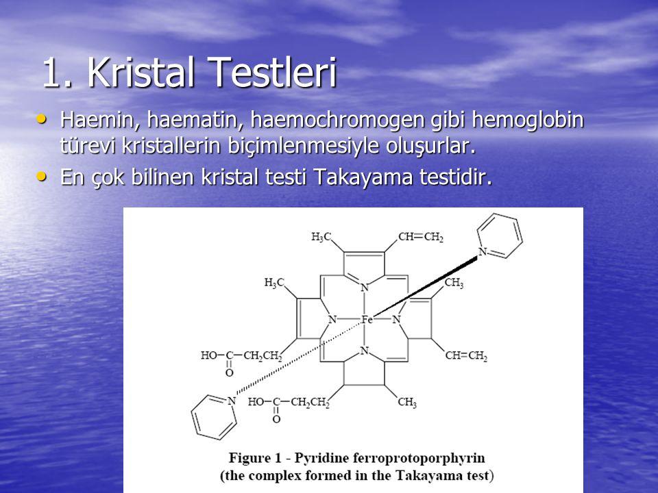 1. Kristal Testleri Haemin, haematin, haemochromogen gibi hemoglobin türevi kristallerin biçimlenmesiyle oluşurlar.