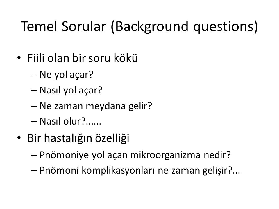 Temel Sorular (Background questions)