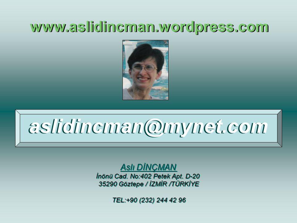 aslidincman@mynet.com www.aslidincman.wordpress.com Aslı DİNÇMAN