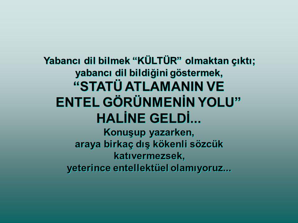 STATÜ ATLAMANIN VE ENTEL GÖRÜNMENİN YOLU HALİNE GELDİ...