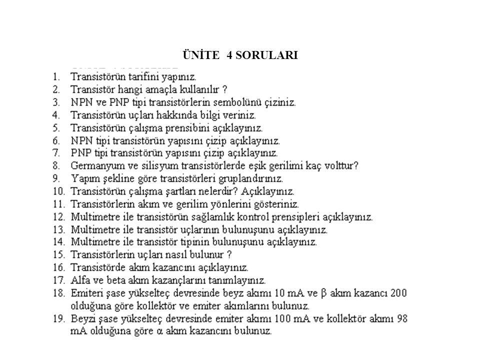 ÜNİTE 4 SORULARI