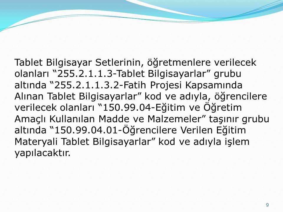 Tablet Bilgisayar Setlerinin, öğretmenlere verilecek olanları 255. 2