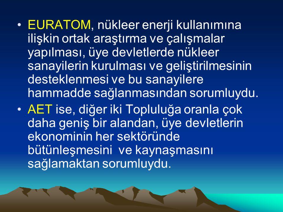 EURATOM, nükleer enerji kullanımına ilişkin ortak araştırma ve çalışmalar yapılması, üye devletlerde nükleer sanayilerin kurulması ve geliştirilmesinin desteklenmesi ve bu sanayilere hammadde sağlanmasından sorumluydu.