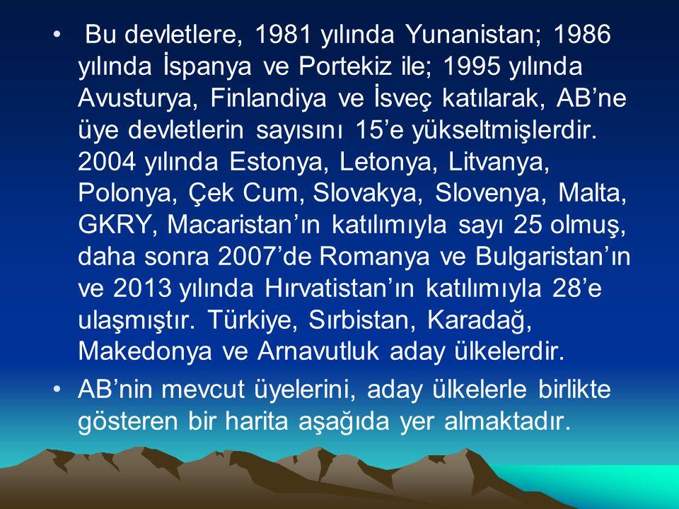 Bu devletlere, 1981 yılında Yunanistan; 1986 yılında İspanya ve Portekiz ile; 1995 yılında Avusturya, Finlandiya ve İsveç katılarak, AB'ne üye devletlerin sayısını 15'e yükseltmişlerdir. 2004 yılında Estonya, Letonya, Litvanya, Polonya, Çek Cum, Slovakya, Slovenya, Malta, GKRY, Macaristan'ın katılımıyla sayı 25 olmuş, daha sonra 2007'de Romanya ve Bulgaristan'ın ve 2013 yılında Hırvatistan'ın katılımıyla 28'e ulaşmıştır. Türkiye, Sırbistan, Karadağ, Makedonya ve Arnavutluk aday ülkelerdir.