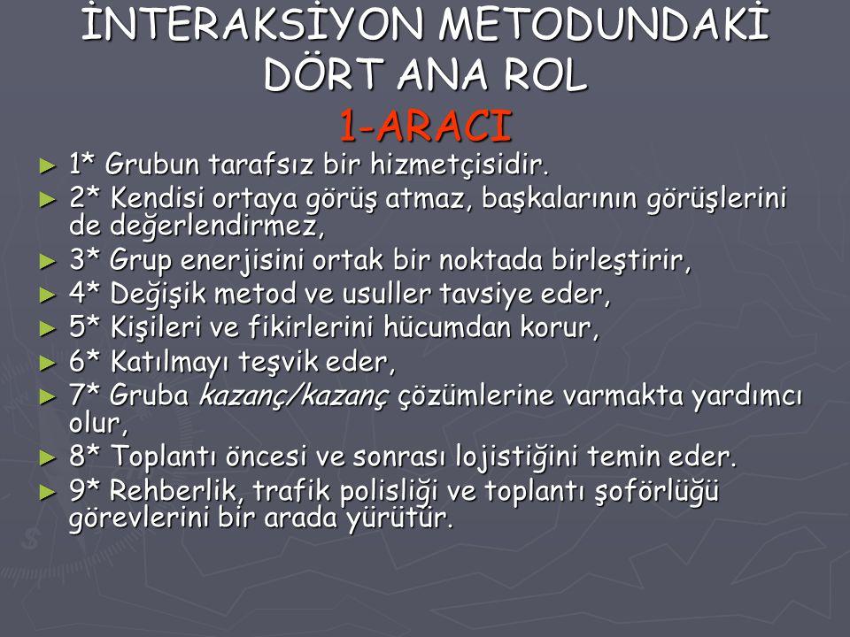 İNTERAKSİYON METODUNDAKİ DÖRT ANA ROL 1-ARACI