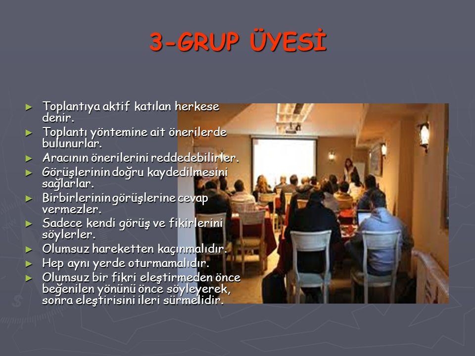 3-GRUP ÜYESİ Toplantıya aktif katılan herkese denir.