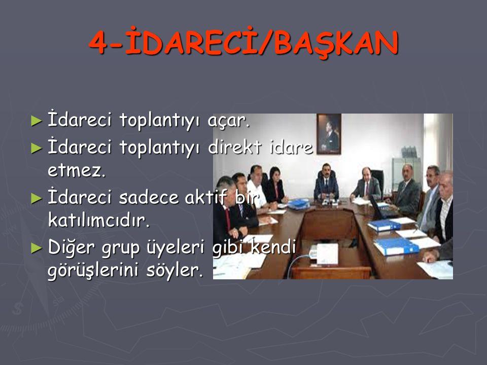 4-İDARECİ/BAŞKAN İdareci toplantıyı açar.