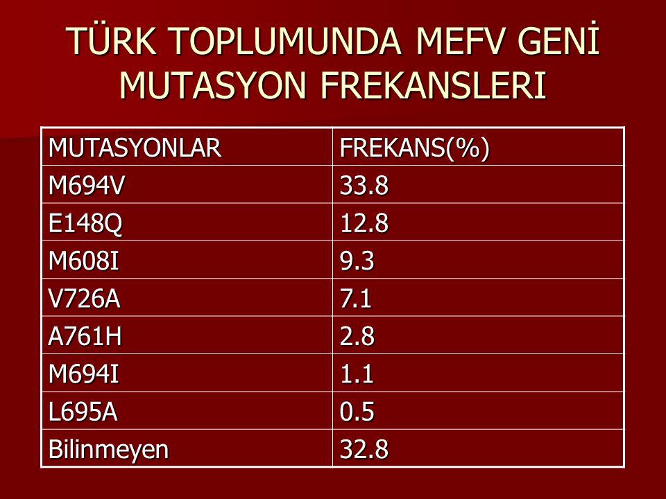 TÜRK TOPLUMUNDA MEFV GENİ MUTASYON FREKANSLERI