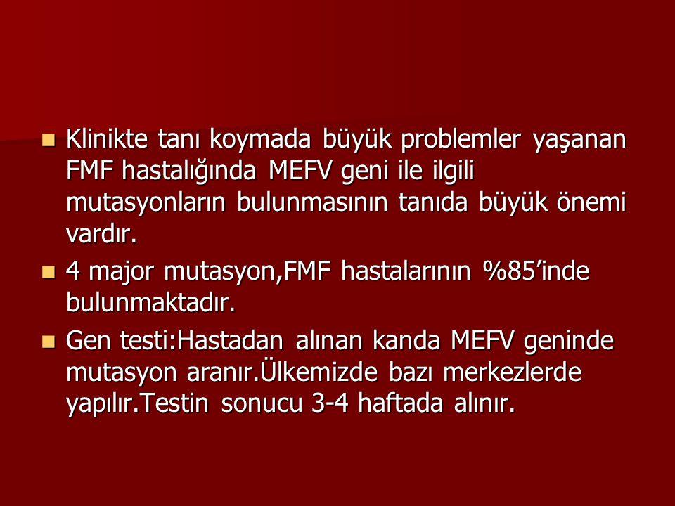 Klinikte tanı koymada büyük problemler yaşanan FMF hastalığında MEFV geni ile ilgili mutasyonların bulunmasının tanıda büyük önemi vardır.