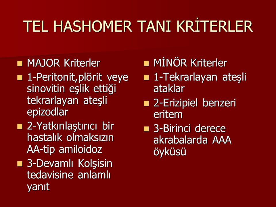 TEL HASHOMER TANI KRİTERLER