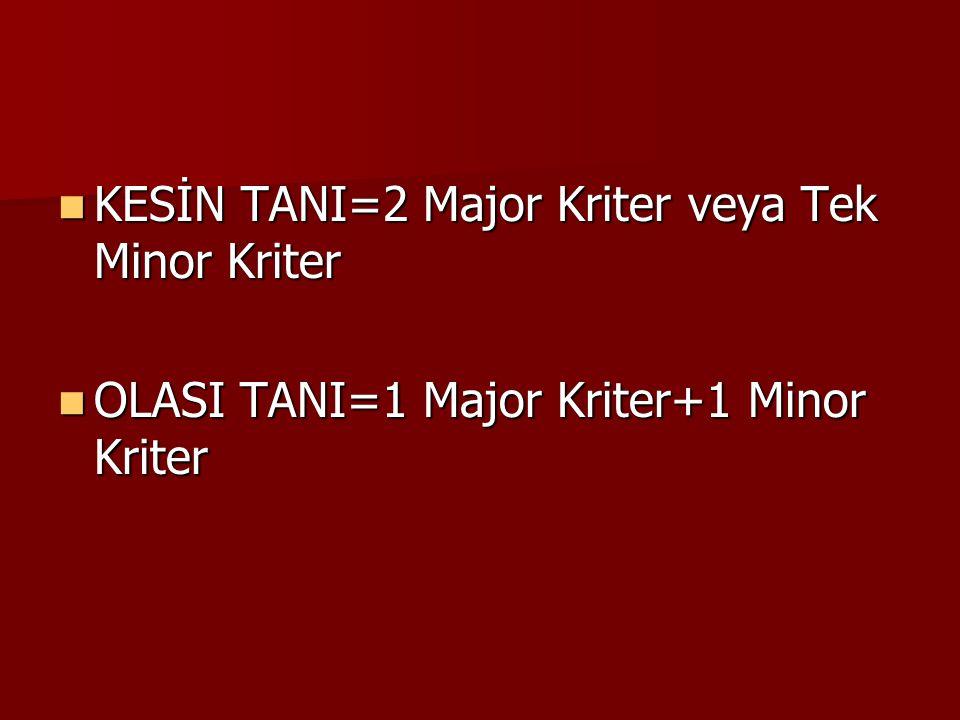 KESİN TANI=2 Major Kriter veya Tek Minor Kriter