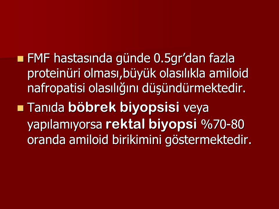FMF hastasında günde 0.5gr'dan fazla proteinüri olması,büyük olasılıkla amiloid nafropatisi olasılığını düşündürmektedir.