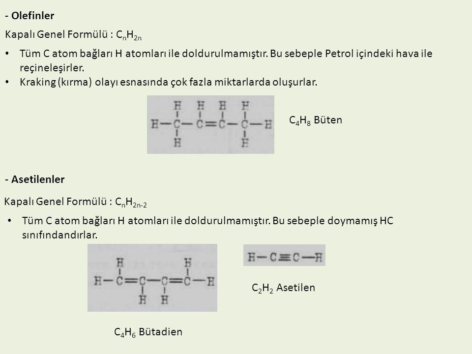 - Olefinler Kapalı Genel Formülü : CnH2n. Tüm C atom bağları H atomları ile doldurulmamıştır. Bu sebeple Petrol içindeki hava ile reçineleşirler.