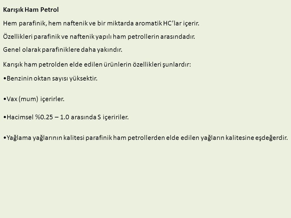 Karışık Ham Petrol Hem parafinik, hem naftenik ve bir miktarda aromatik HC'lar içerir.