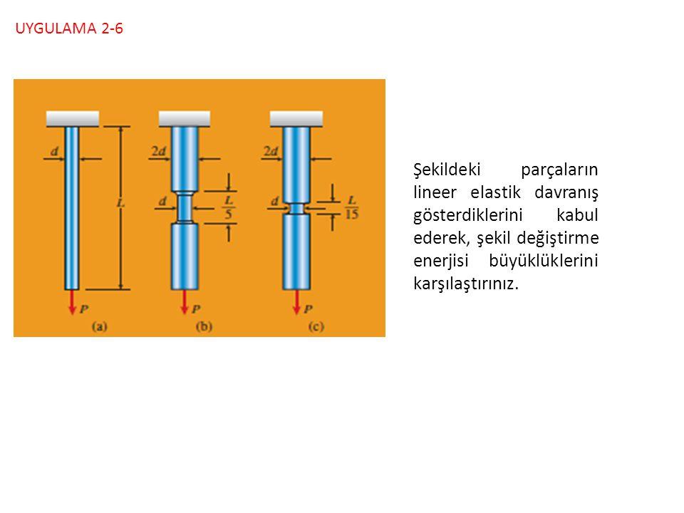 UYGULAMA 2-6 Şekildeki parçaların lineer elastik davranış gösterdiklerini kabul ederek, şekil değiştirme enerjisi büyüklüklerini karşılaştırınız.