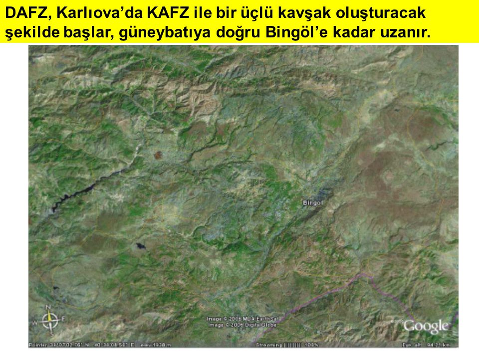 DAFZ, Karlıova'da KAFZ ile bir üçlü kavşak oluşturacak şekilde başlar, güneybatıya doğru Bingöl'e kadar uzanır.