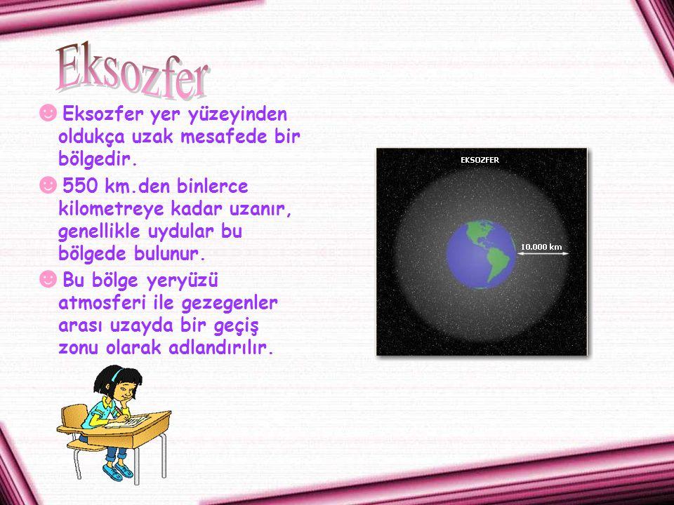 Eksozfer Eksozfer yer yüzeyinden oldukça uzak mesafede bir bölgedir.