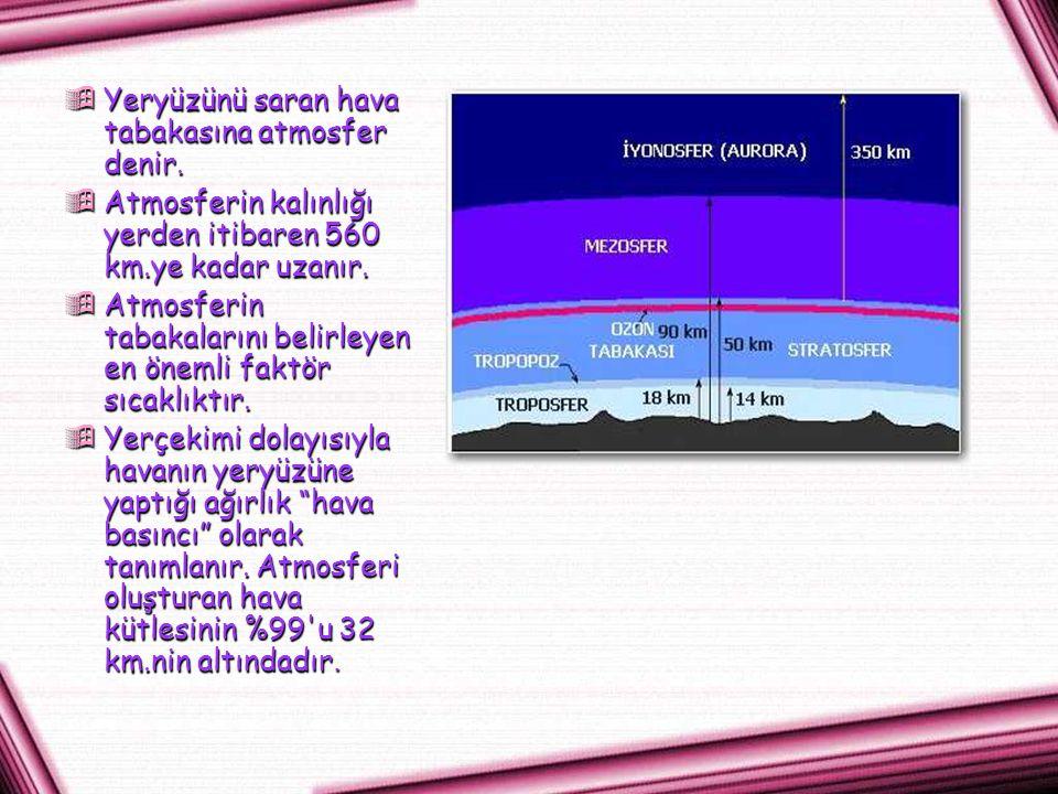 Yeryüzünü saran hava tabakasına atmosfer denir.
