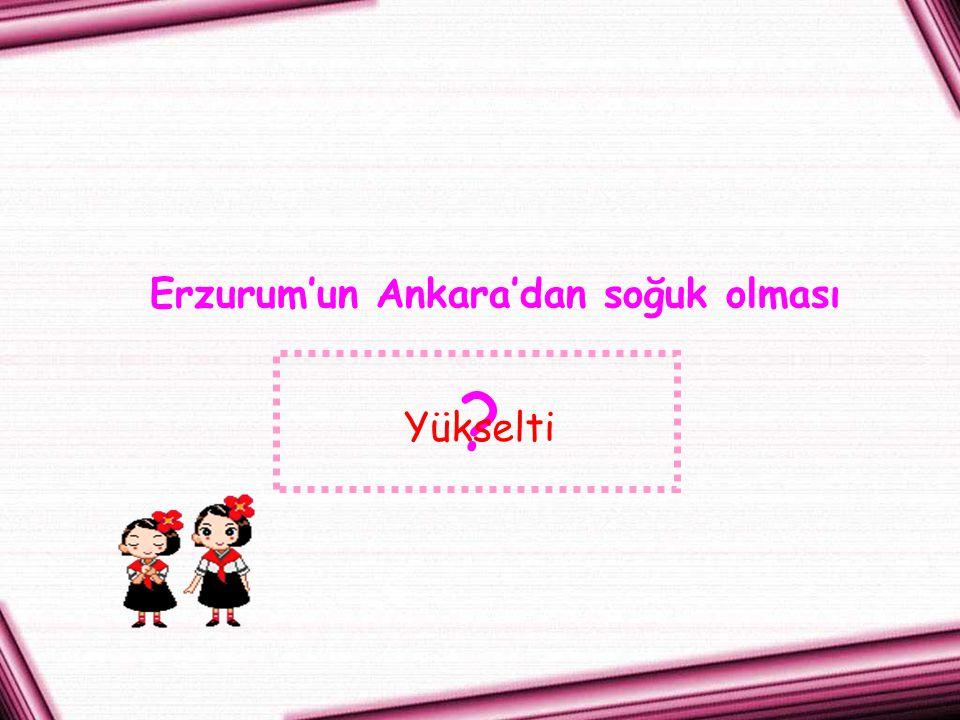 Erzurum'un Ankara'dan soğuk olması