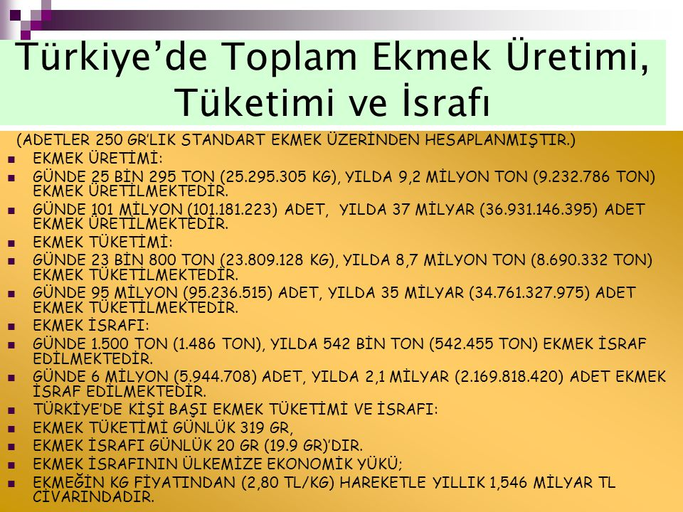 Türkiye'de Toplam Ekmek Üretimi, Tüketimi ve İsrafı