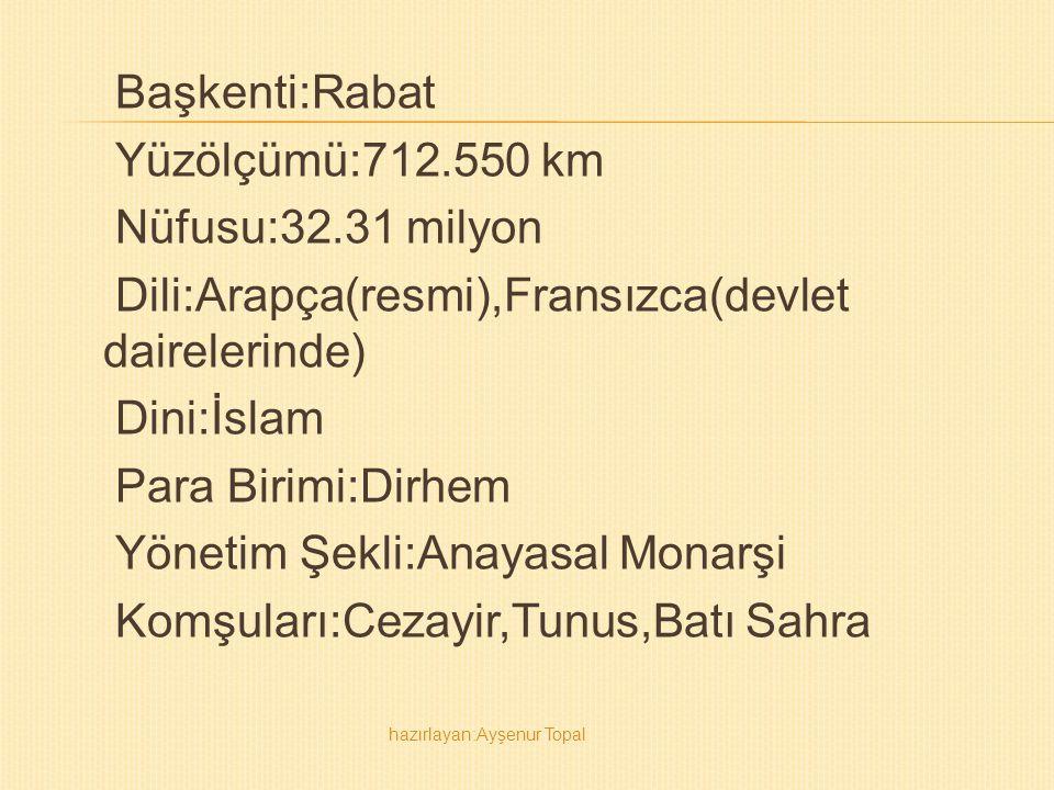 Başkenti:Rabat Yüzölçümü:712. 550 km Nüfusu:32