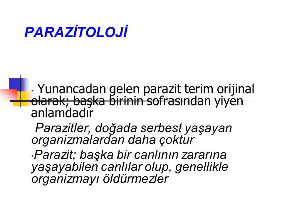 PARAZİTOLOJİ Yunancadan gelen parazit terim orijinal olarak; başka birinin sofrasından yiyen anlamdadır.