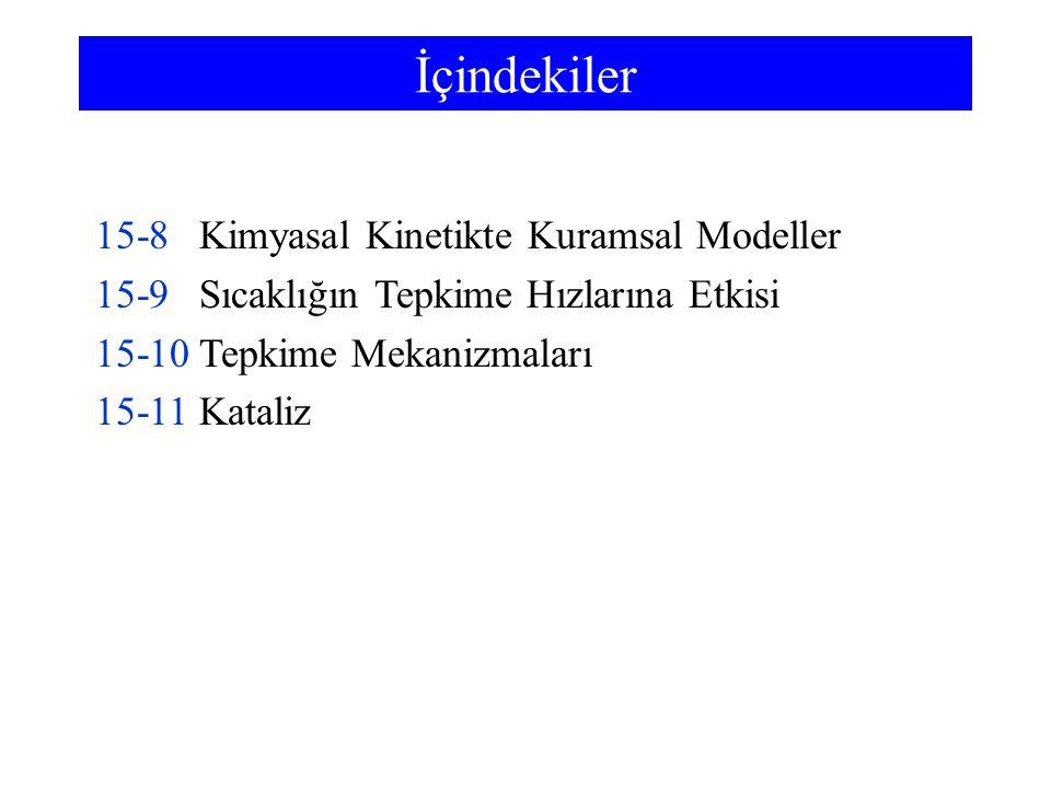 İçindekiler 15-8 Kimyasal Kinetikte Kuramsal Modeller