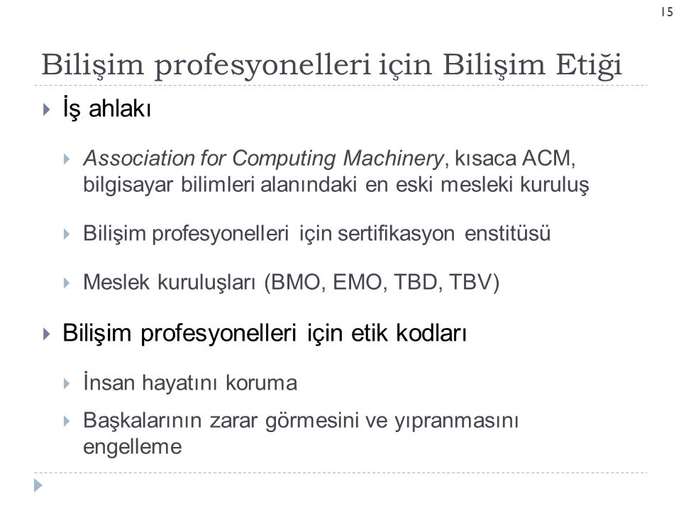 Bilişim profesyonelleri için Bilişim Etiği