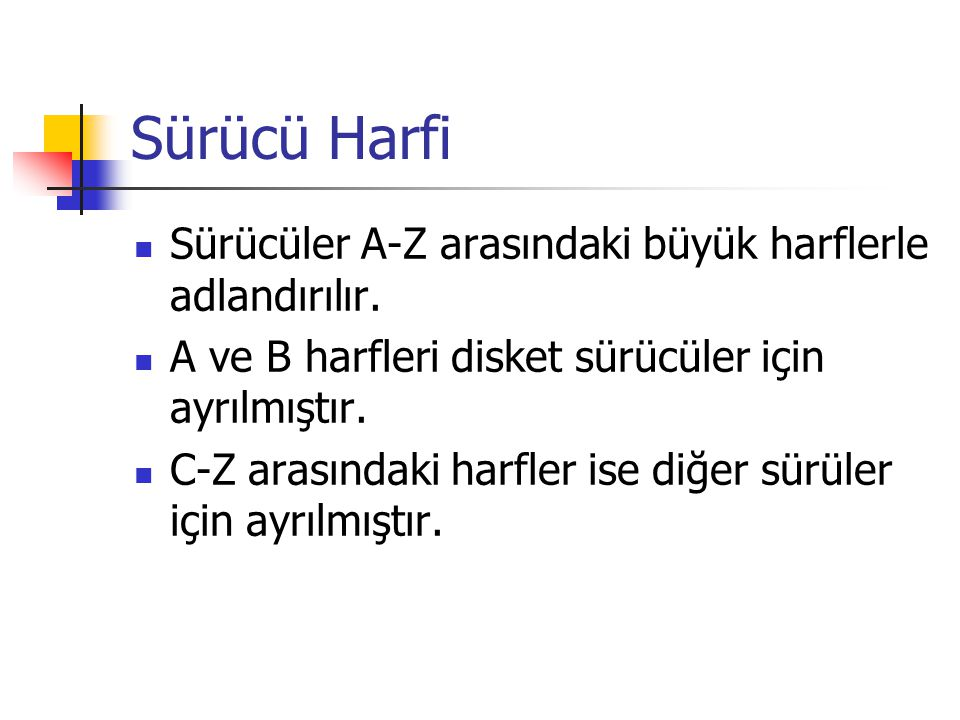 Sürücü Harfi Sürücüler A-Z arasındaki büyük harflerle adlandırılır.