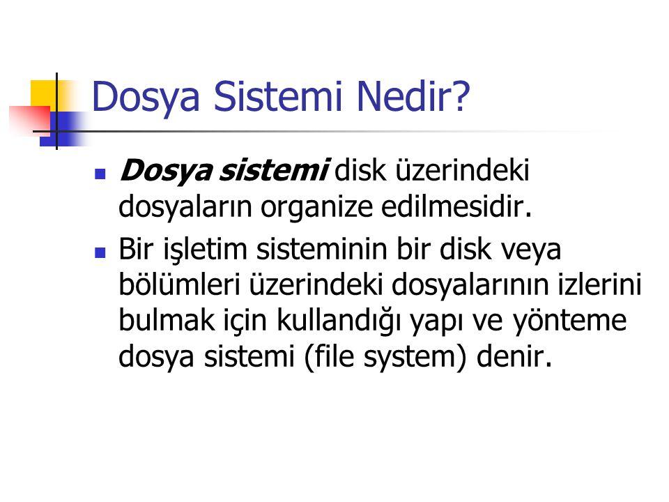 Dosya Sistemi Nedir Dosya sistemi disk üzerindeki dosyaların organize edilmesidir.