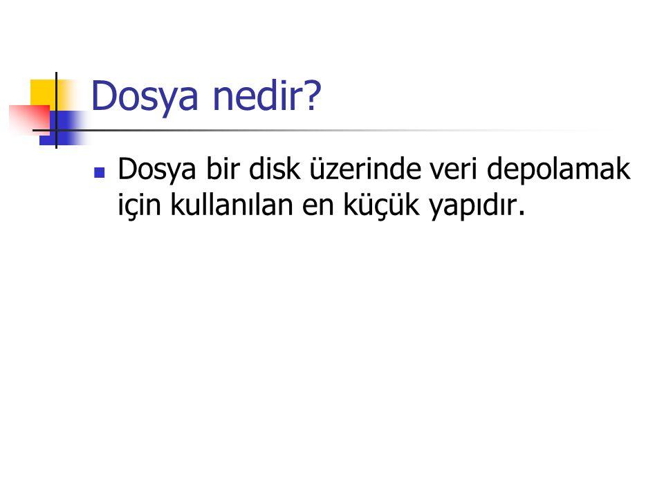 Dosya nedir Dosya bir disk üzerinde veri depolamak için kullanılan en küçük yapıdır.