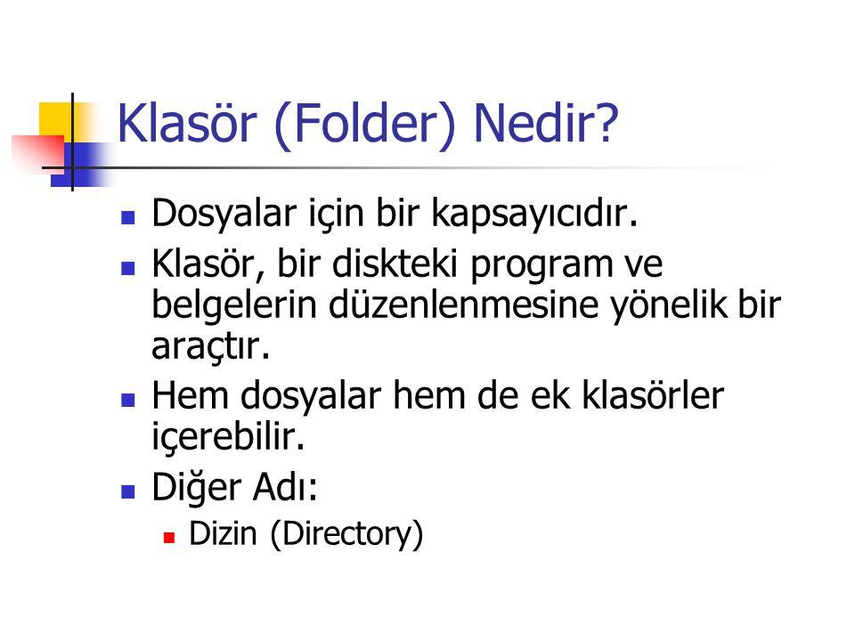 Klasör (Folder) Nedir Dosyalar için bir kapsayıcıdır.