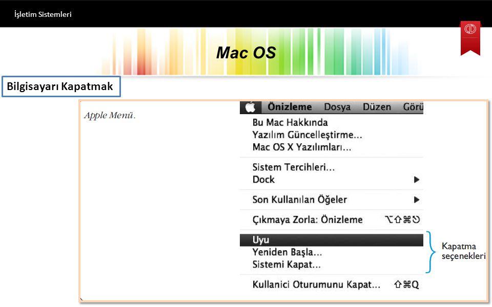 İşletim Sistemleri Mac OS Bilgisayarı Kapatmak