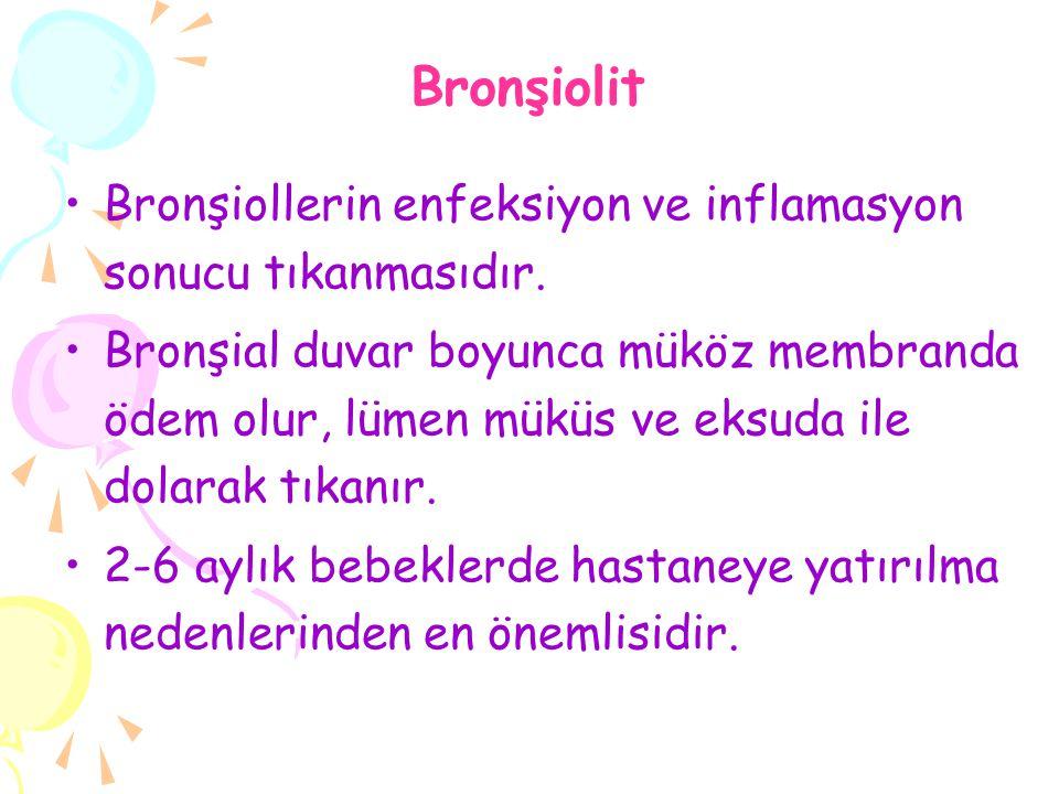 Bronşiolit Bronşiollerin enfeksiyon ve inflamasyon sonucu tıkanmasıdır.