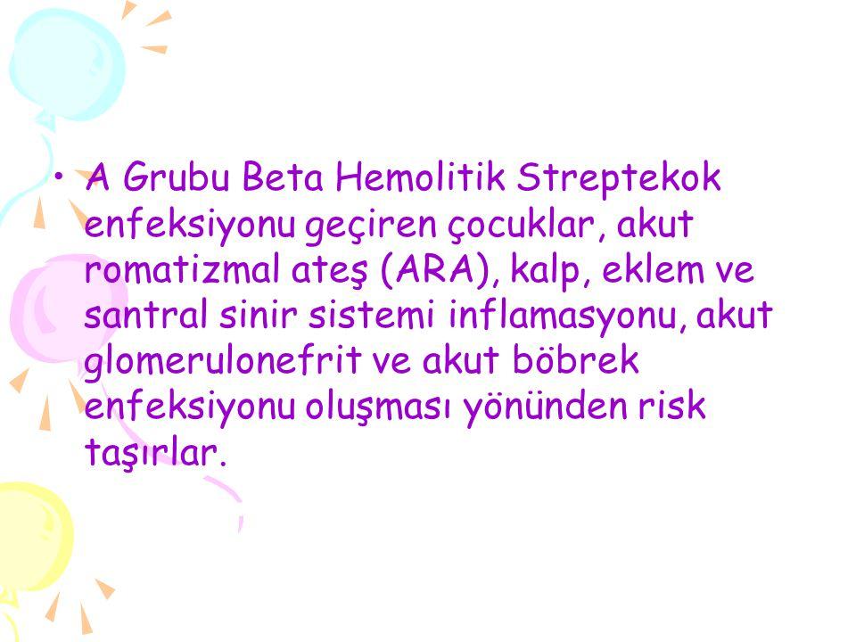 A Grubu Beta Hemolitik Streptekok enfeksiyonu geçiren çocuklar, akut romatizmal ateş (ARA), kalp, eklem ve santral sinir sistemi inflamasyonu, akut glomerulonefrit ve akut böbrek enfeksiyonu oluşması yönünden risk taşırlar.