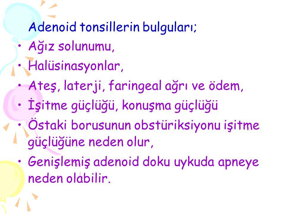Adenoid tonsillerin bulguları;