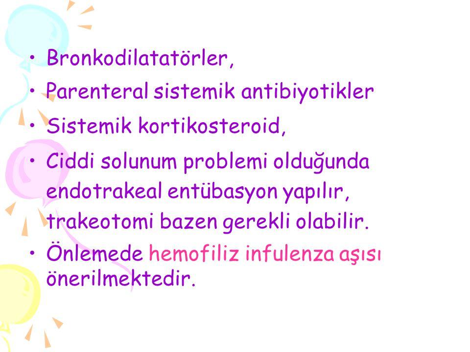 Bronkodilatatörler, Parenteral sistemik antibiyotikler. Sistemik kortikosteroid,