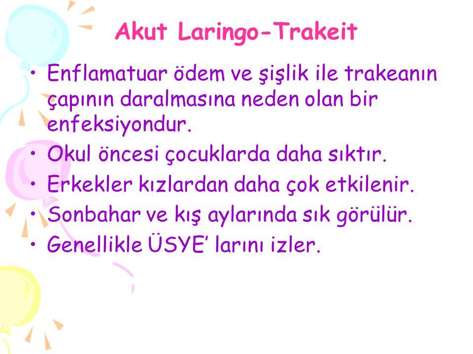 Akut Laringo-Trakeit Enflamatuar ödem ve şişlik ile trakeanın çapının daralmasına neden olan bir enfeksiyondur.