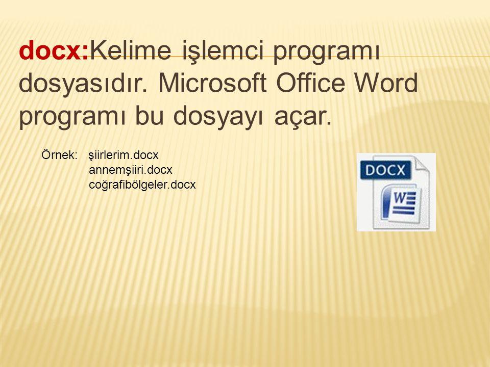 docx:Kelime işlemci programı dosyasıdır