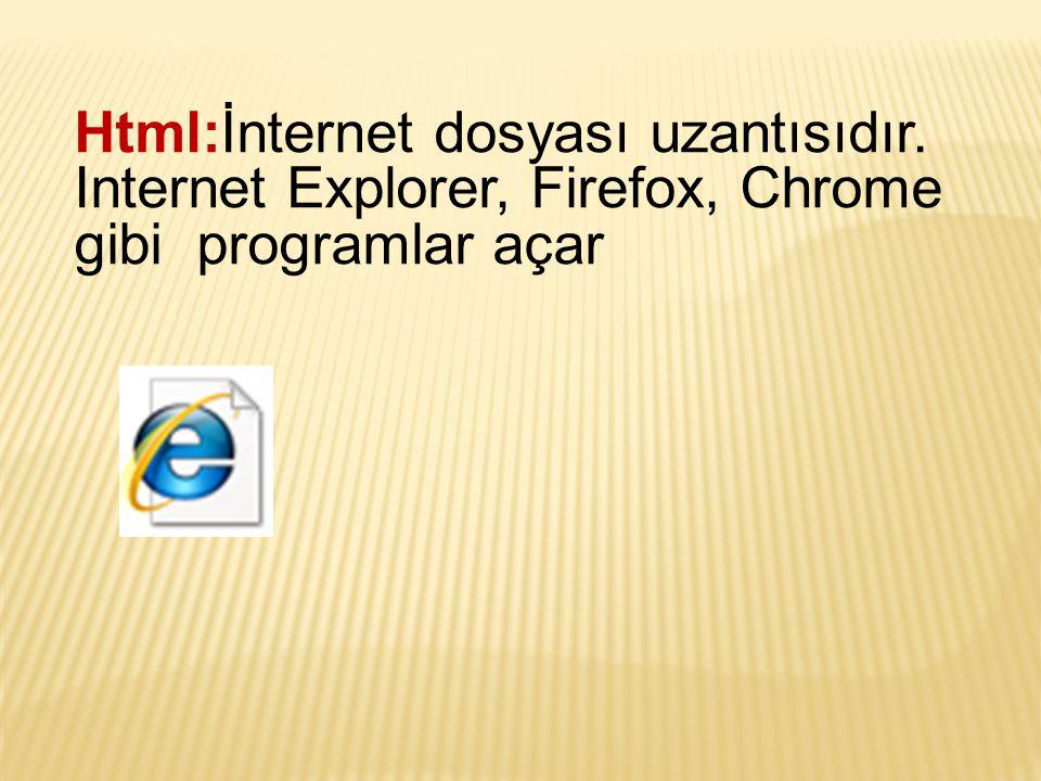 Html:İnternet dosyası uzantısıdır