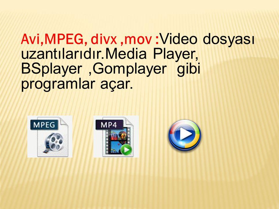 Avi,MPEG, divx ,mov :Video dosyası uzantılarıdır