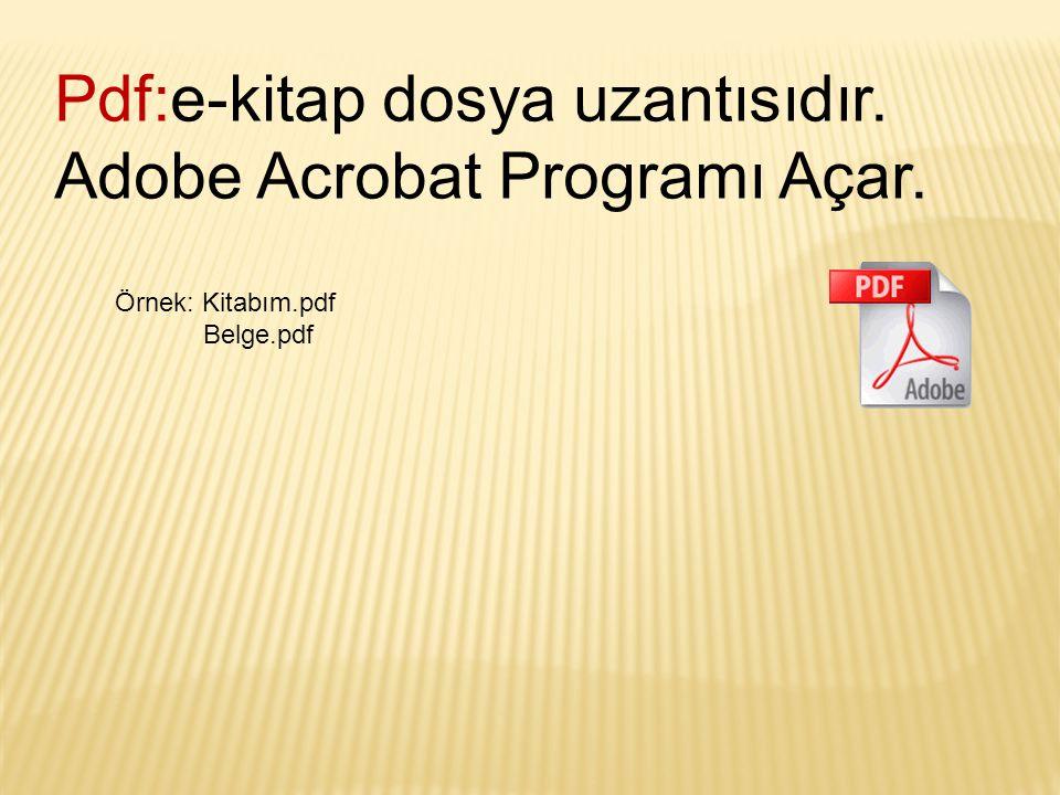 Pdf:e-kitap dosya uzantısıdır. Adobe Acrobat Programı Açar.