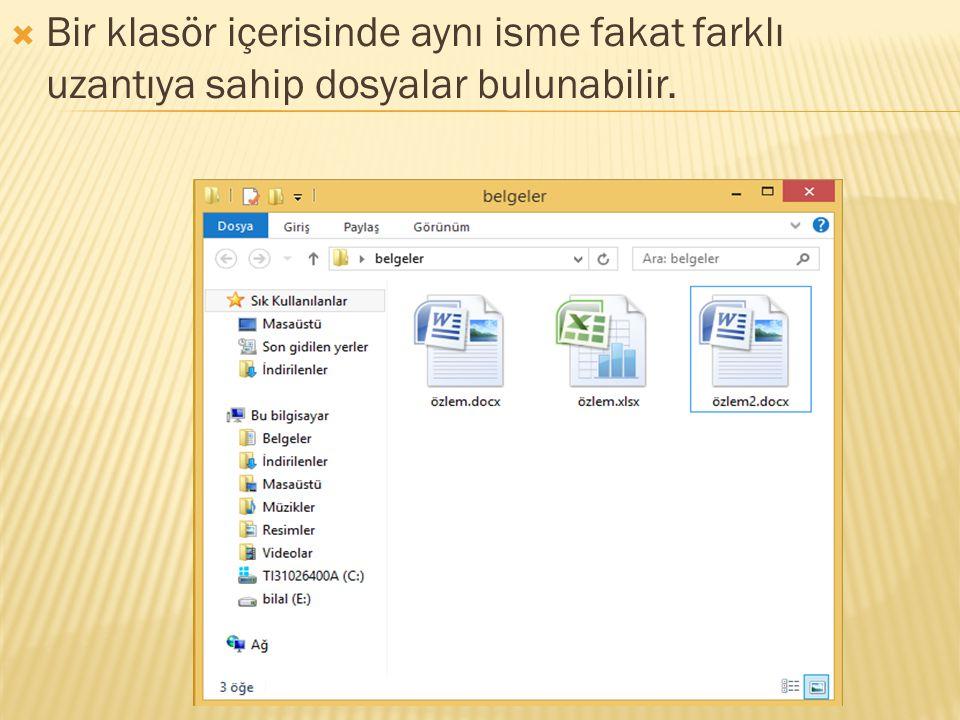 Bir klasör içerisinde aynı isme fakat farklı uzantıya sahip dosyalar bulunabilir.