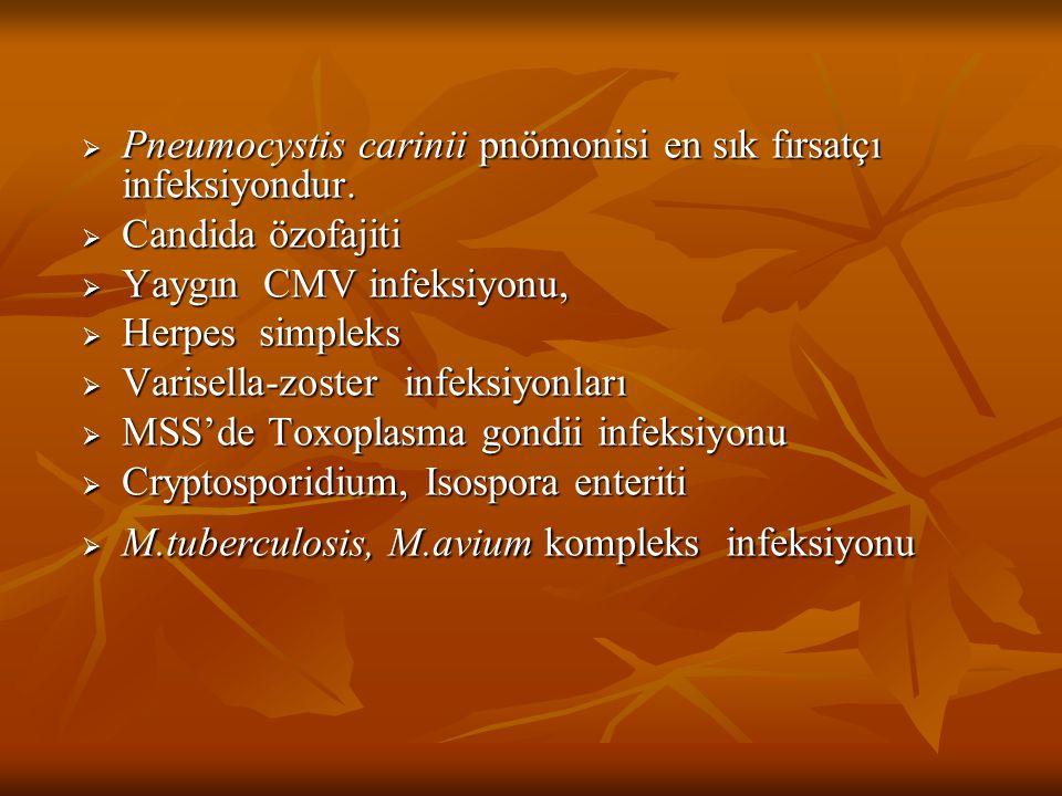 Pneumocystis carinii pnömonisi en sık fırsatçı infeksiyondur.