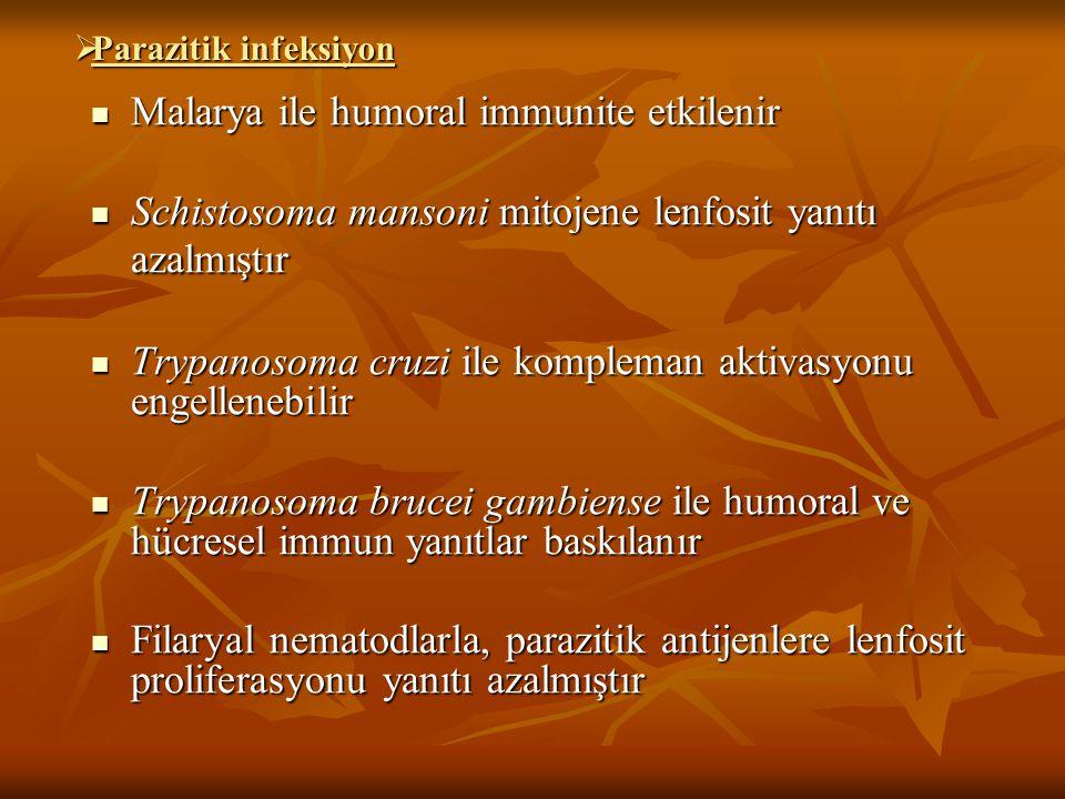 Malarya ile humoral immunite etkilenir